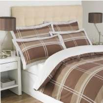 York Single Duvet Set with Oxford Pillowcases - Brown
