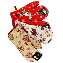 6 Pack Assorted Christmas Single Oven Glove