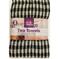 3 Pack Check Tea Towel (4 Colours Available)
