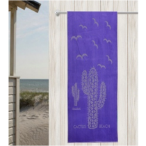 Blue Cactus 100% Velour Cotton Beach Towel