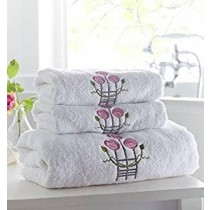 Pack of 12 Rose Embroidered Hand Towel (Available in 2 Colours)