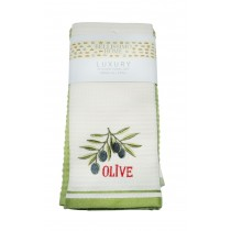 Pack of 6 Luxury 2 Pack Waffle Embroidered Tea Towels (Available in 4 Designs)
