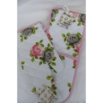 Rose Flowers Double Oven Glove