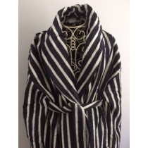Black and Cream Velour Shawl Collar Robe (Available in 2 Sizes)