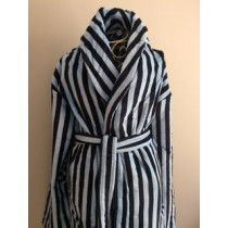 Heavyweight Velour Stripe Mens Shawl Collar Robe - XXL Available Only