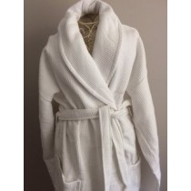 Waffle and Terry White Shawl Collar Robe (Available in 3 Sizes)